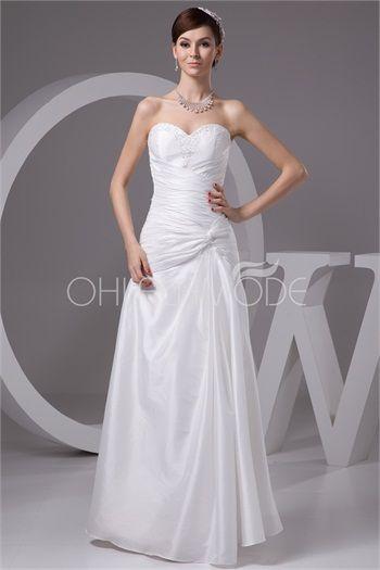 Robe de mariée pas cher civil entrecroisée col en coeur décoration perlée en taffetas