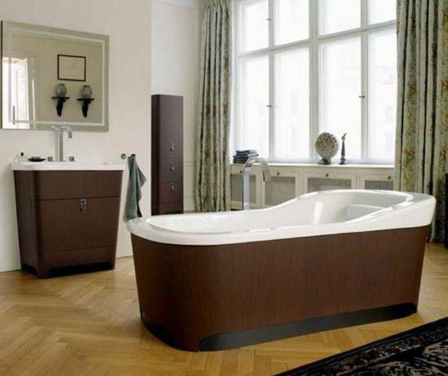 duravit esplanade vanity and tub with oak panels