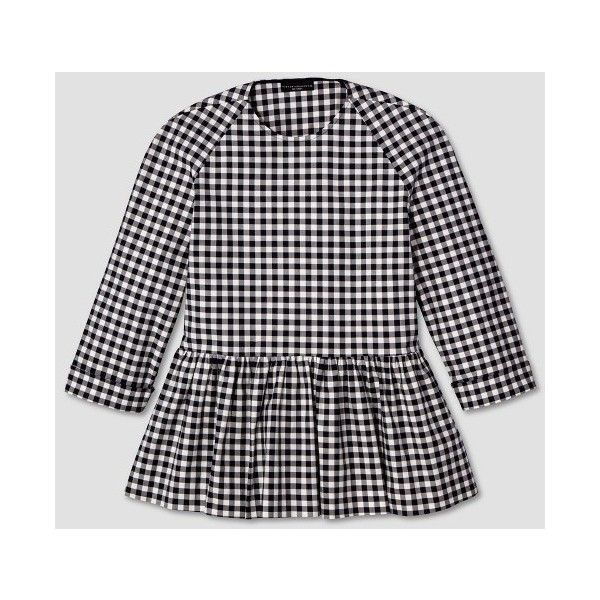 Women's Blue and White Gingham Twill Peplum Blouse - Victoria Beckham... ($35) ❤ liked on Polyvore featuring tops, blouses, gingham top, blue and white blouse, gingham blouse, blue and white top and peplum blouse