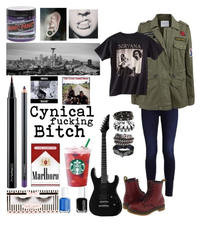 """Realistic representation of myself done in .2 seconds."" by sykes23-823 on Polyvore featuring Dr. Martens, RED Valentino, MAC Cosmetics, Violet Voss, Velvet by Graham & Spencer, Chanel, iCanvas, Manic Panic NYC, Nirvana and Essie"