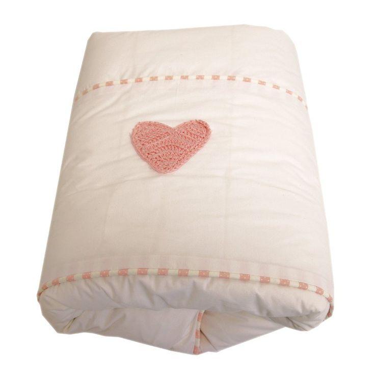 Pindot Pink Hand Crocheted Heart - Cot Duvet Cover