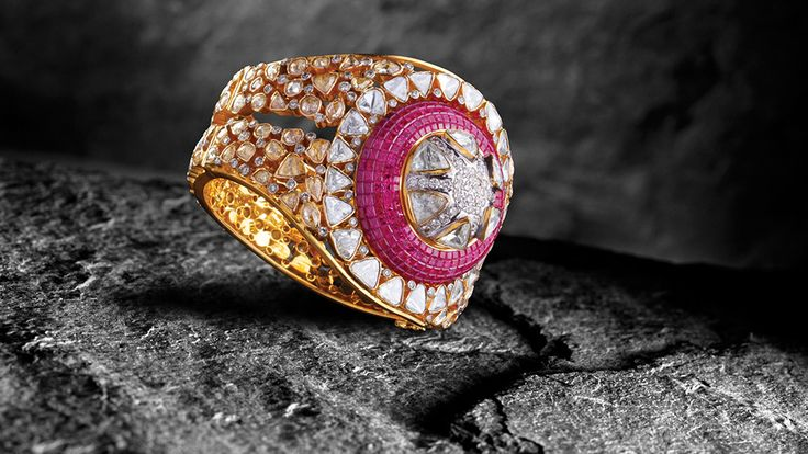 Bridhichand Ghanshyamdas bold ring with uncut diamonds, brilliant diamonds and invisible-set ruby top, from the new Adrishya Collection
