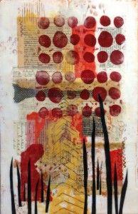 "Orchard by Elaine Brady Smith, 12"" x 18"" encaustic collage on board. www.elainebradysmith.com"