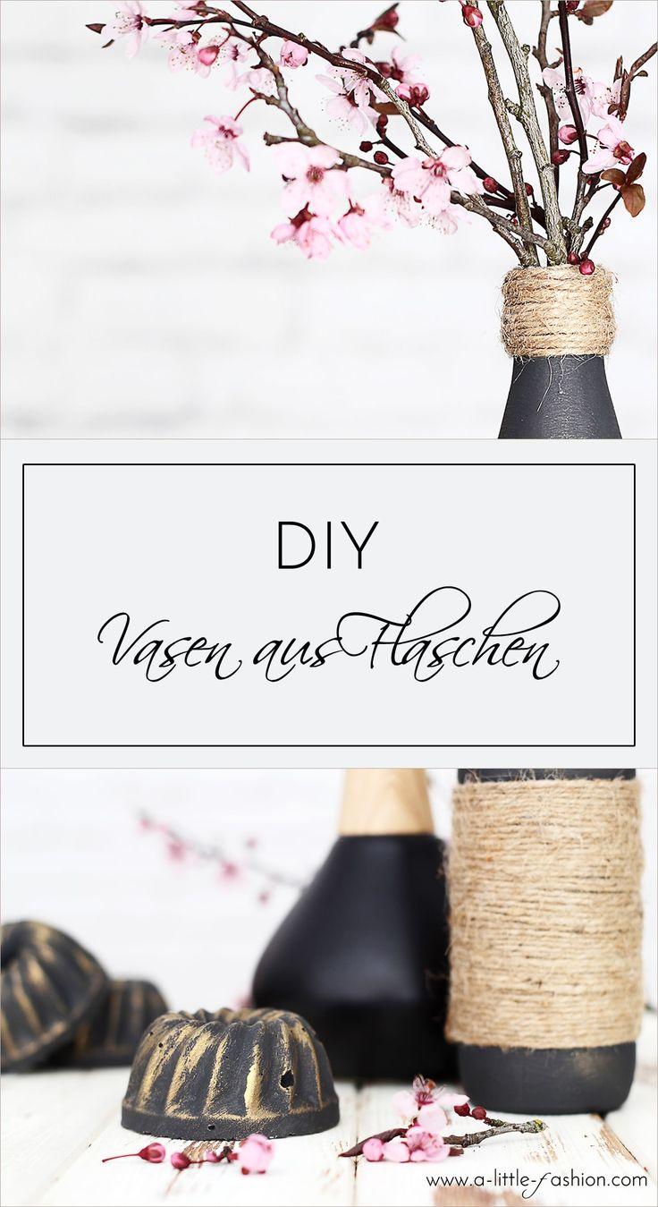 Edle Vasen aus Flaschen und Jutegarn | A Little Fashion | http://www.a-little-fashion.com/diy/vasen-flaschen-jute-garn-selbermachen