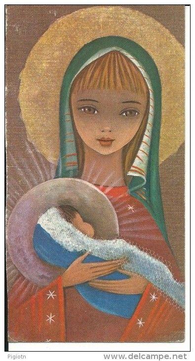 BAU064 - BIGLIETTO AUGURALE BUON NATALE - MADONNA CON BAMBINO - Christmas