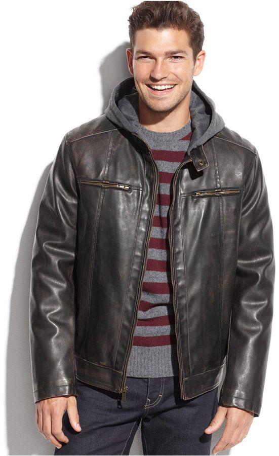 Hooded Faux Leather Faux Fur Lined Moto Jacket