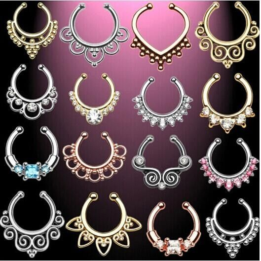 #AliExpress 2pcs/lot Fake Septum Nose Ring Piercing for Women Crystal Nostril Nose Stud Clip On Nose Hoop Ring Body Fake Piercing Jewelry (32781086324) #SuperDeals