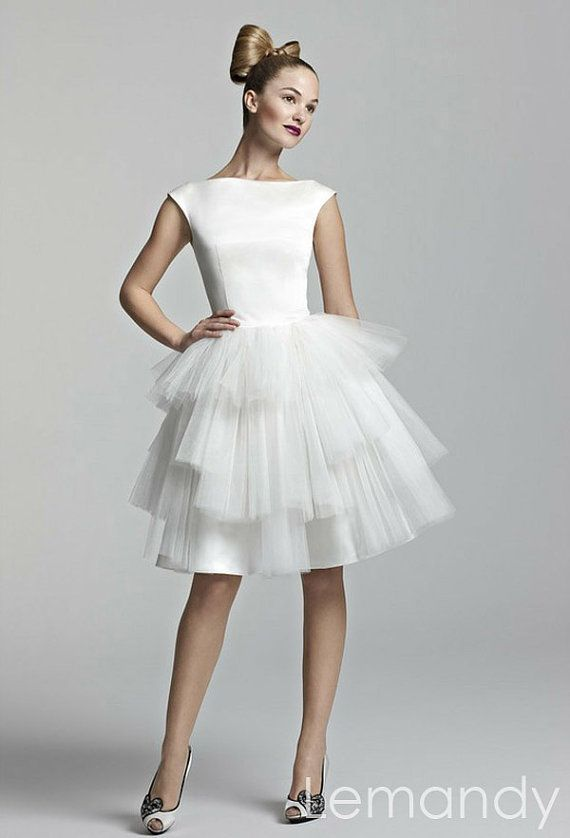 Cute white satin and tulle short tutu wedding dress 175 for Cute short wedding dresses