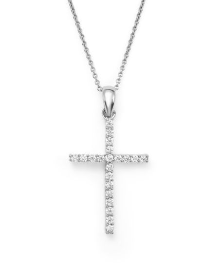 Diamond Cross Pendant Necklace in 14K <b>White Gold</b>, .25 ct. t.w. ...