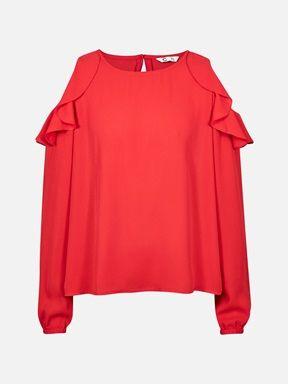 Rød - Kelila bluse med åpne skuldre