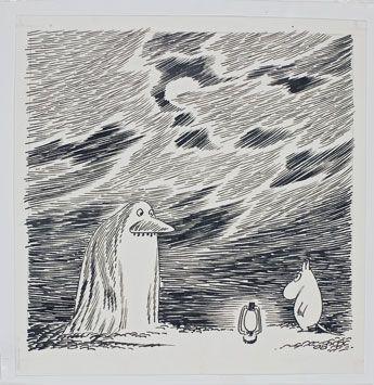 「ムーミンパパ海へいく」習作、インク、1965年 トーベ・ヤンソン タンペレ市立美術館・ムーミン谷博物館蔵 Moomin Characters Tampere Art Museum Moominvalley(2015-03-18)