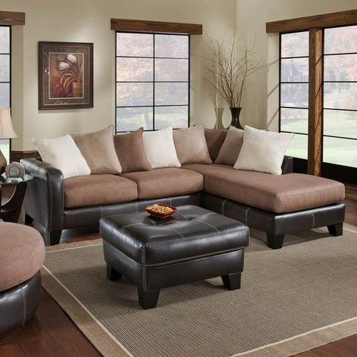 Burke 2 Piece Fabric Amp Faux Leather Sectional By Chelsea