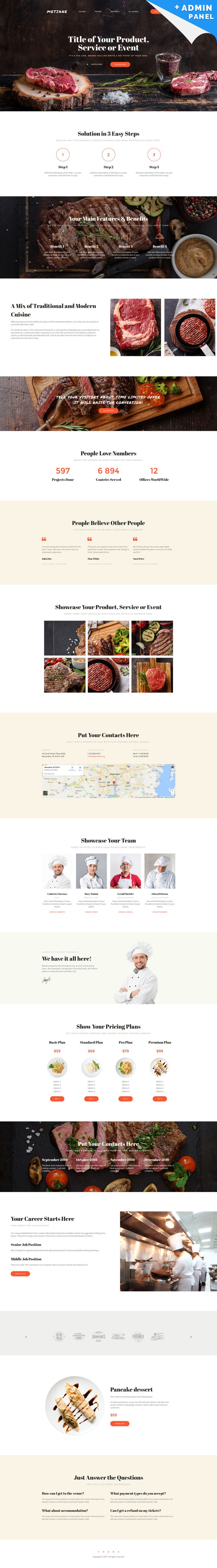 Metiane MotoCMS 3 Landing Builder - http://www.templatemonster.com/landing-page-template/steakhouse-landing-page-template-59236.html
