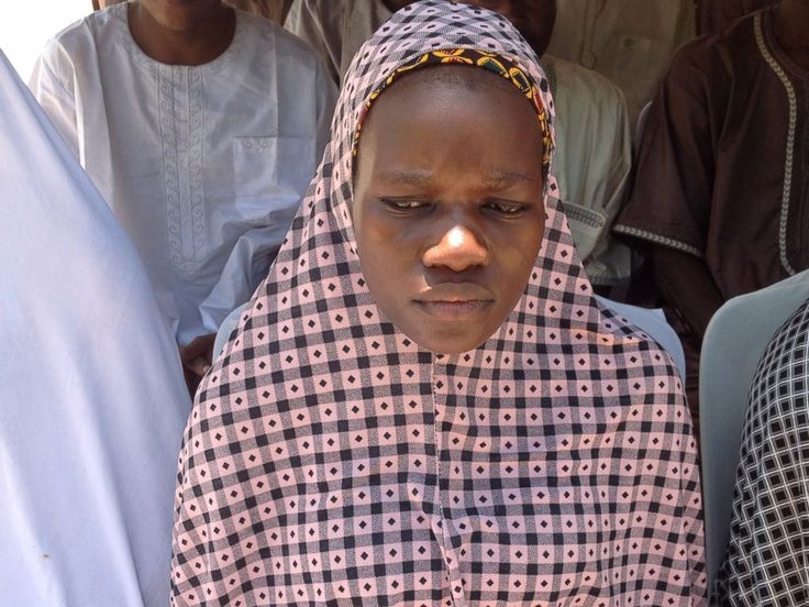 [Boko Haram has abducted over 2,000 women since 2014] PHOTO:In this photo taken September 14, 2015, Tabitha Adamu, abducted and impregnated by Boko Haram militants, speaks to media in Nigeria about her marriage to a Boko Haram fighter.
