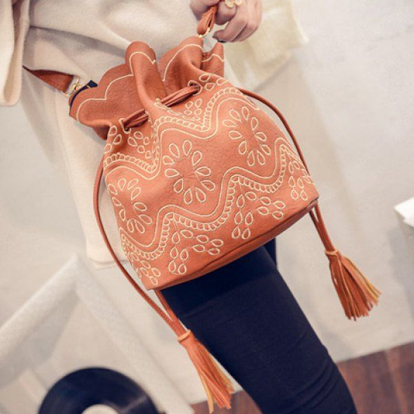 $16.72 Stylish Embroidery and Tassel Design Women's Crossbody Bag