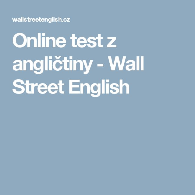 Online test z angličtiny - Wall Street English