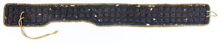 """Estimate:$100 - $150  Rare chain mail (Kusari) sash armor. Of Japanese construction, as opposed to Nanban, 17th c. or earlier. Very rare under-armor item. Japanese style, Futae Kusari obi 36"""". Used under the armor behind the long laces attaching the gassen attached to the dou to protect the hips from sword blows. Over the centuries most of these have been lost."""