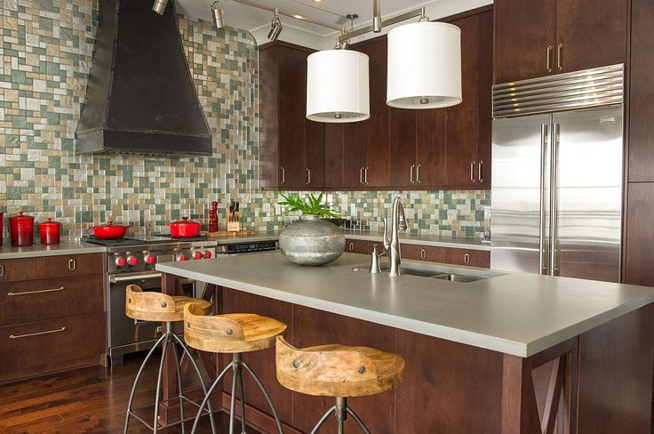 Contemporary Kitchen with Concrete Countertop