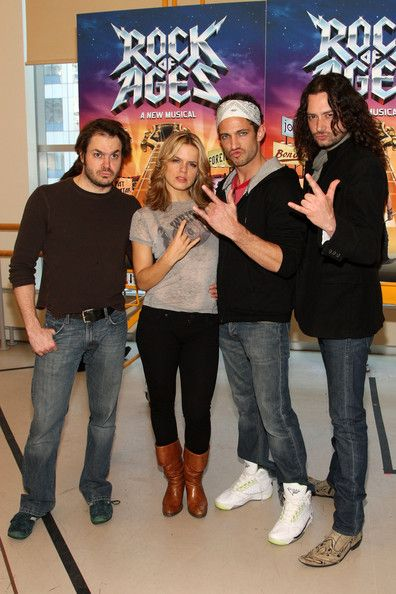 "Actors Mitchell Jarvis, Amy Spanger, James Carpinello and Constantine Maroulis attend the ""Rock of Ages"" Broadway rehearsal"