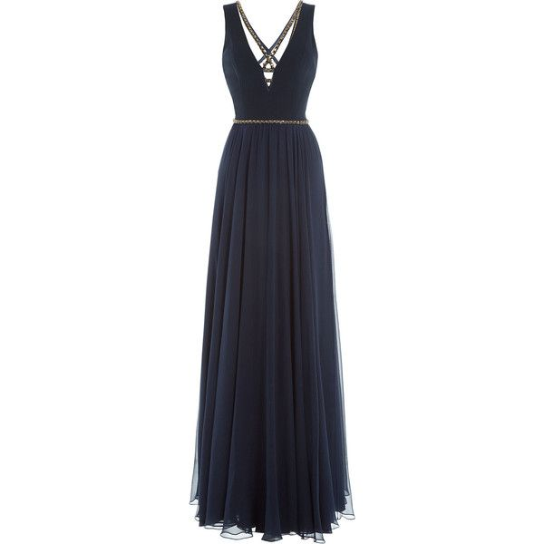 Jenny Packham Floor Length Gown ($1,589) ❤ liked on Polyvore featuring dresses, gowns, formal, long dresses, none, blue dress, blue gown, v neck gown, navy blue ball gown and floor length gowns