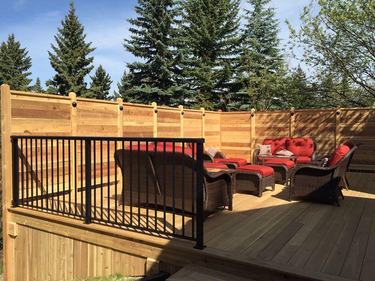 Cedar Deck with aluminum railing. www.thelittledecker.ca