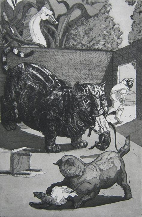 'A Frog he would a-wooing go II', etching and aquatint, 1989   Paula Rego