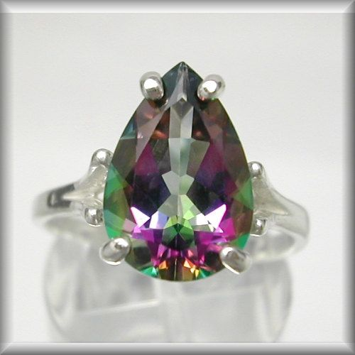 Mystic Topaz Ring, Mystic Fire Topaz Ring (Mystic Green Topaz 4ct Pear SS Ring Sz 4-16) Caribbean Topaz, Sunset Topaz