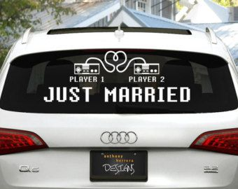 8-bit Love / Player 1, Player 2 Just Married Wedding Vinyl Window Cling Decal