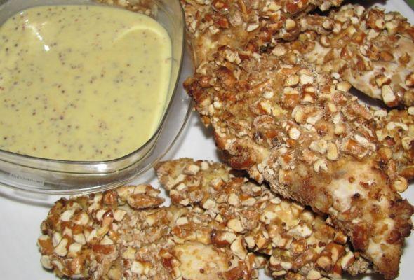 Palitos de Pollo con Cubierta de Pretzels Molidos, 3 weight watchers points plus, receta sana