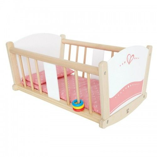 This classic cradle made by Hape is beautifully crafted of FSC certified wood from sustainable forests and coloured with safe water based paint.  Created to inspire imaginative play, learning and exploration of the world, the cradle is a must for the home playroom. Engaging in role play provides opportunities for nurturing and taking care of others, assists children to build positive relationships with peers and adults.  The cradle features a mattress, pillow and plastic rings.