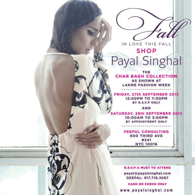 Payal Singhal trunk show in NYC next week.