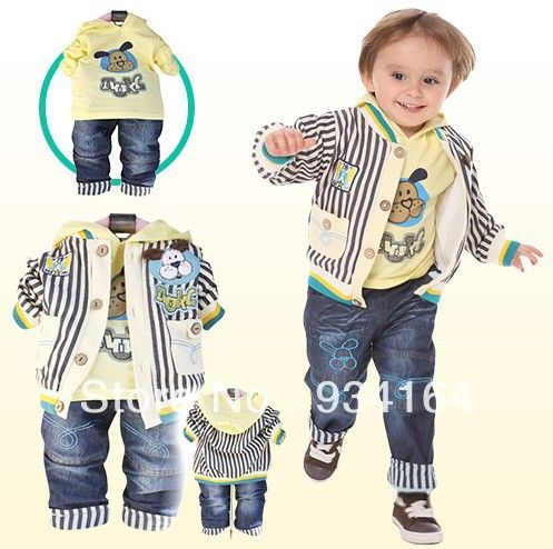 2013 Free shipping New Arrival boys shirt cowboy coat pants sets for kids 3 piece hot sale children sets clothing $22.35