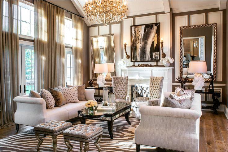 2015 trend: oversized art (black and white), mirrors...dark walls... chairs, mixed metals including gold... Hidden Hills, CA - JeffAndrews-Design.com