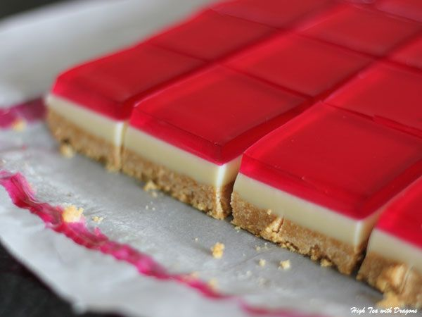 Jelly slice! So excited that I found this recipe! My mum used to make something similar and she conveniently lost the recipe cos I wanted her to make it all the time. Yay for Jelly slice!