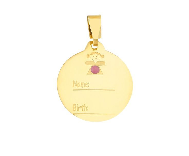 gold birth charm for girls in 14K