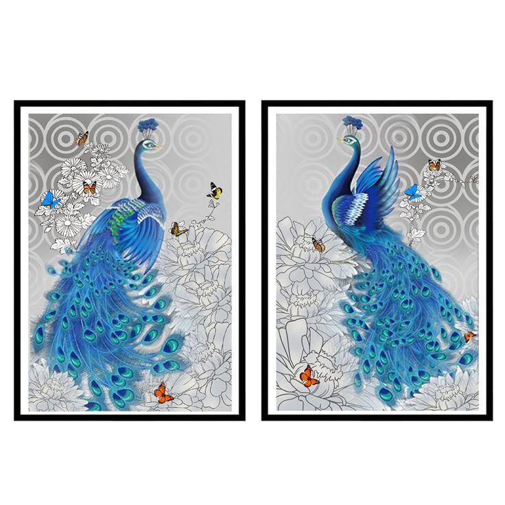 Megayouput bordado de diamantes 5D pintura diamante diy kit de punto de cruz patrón de mosaico pavo real animal foto decoración del hogar regalo(China)