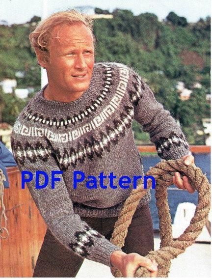 Vintage Icelandic Mens Pullover Sweater Nordic Pattern Digital Download