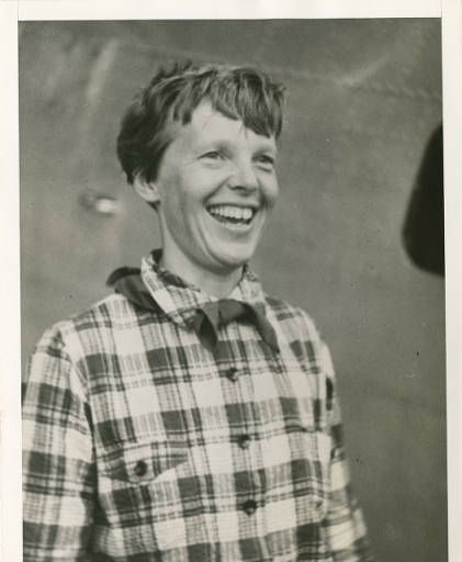 Amelia Earhart in plaid shirt :: Amelia Earhart Papers (George Palmer Putnam Collection)