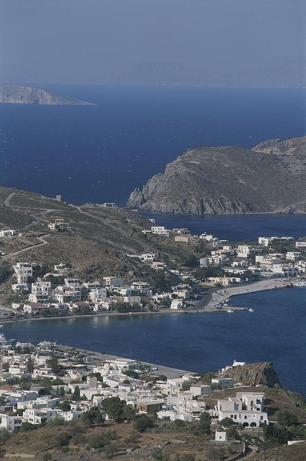 An aerial view of the coastal village of Skala, on Patmos Island - Greece