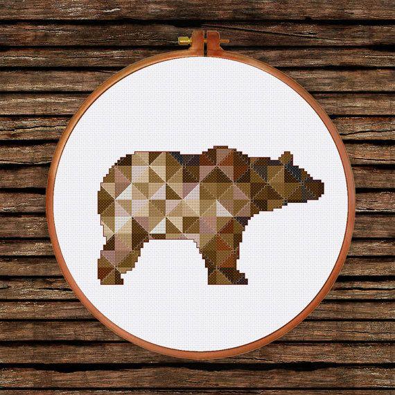 Brown Geometric Bear cross stitch pattern| Modern triangle counted chart…