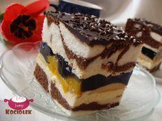 Składniki: Składniki na ciasto jasne: 6 białek 1 niepełna szklanka cukru kryształ 100 g mąki ziemniaczanej 5 łyżek mąki pszennej 1 łyż...