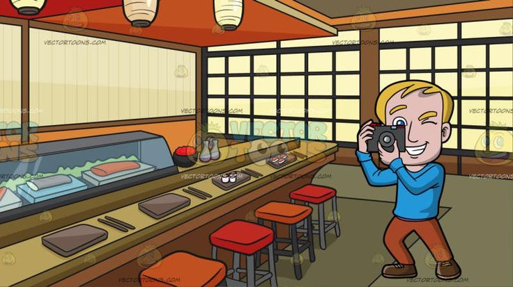 A Happy Man Taking Photos At A Sushi Bar:  A man with blonde hair wearing a sky blue sweatshirt light brown pants and brown shoes grins while shutting his left eye while taking a photo using his gray with red camera. Set in a room set up as a japanese sushi bar with red and orange bar stools japanese lamps brownish gray orange and red ceiling glass display showing a variety of fresh sushi light brown rectangular plates and chopsticks soy sauce bottles oriental windows and olive green…