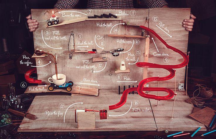 Rube Goldberg coffee machine - 17 words for Wes Anderson: Ingenuity