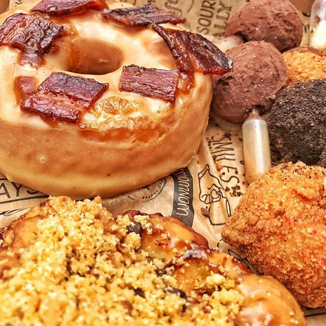 """Donut sampler from @thesaltydonut; Maple Bacon -  24 hour raised brioche donut with pure maple glaze, J.Wakefield UJP Porter redux, & Miami Smokers 'bacon cracklings'. I can't recall the others owing to having slipped into a food coma..."" by @officialojbenjamin. #pic #picture #photos #photograph #foto #pictures #fotografia #color #capture #camera #moment #pics #snapshot #사진 #nice #all_shots #写真 #composition #фото #europe #roadtrip #여행 #outdoors #ocean #world #hiking #lonelyplanet #insta…"
