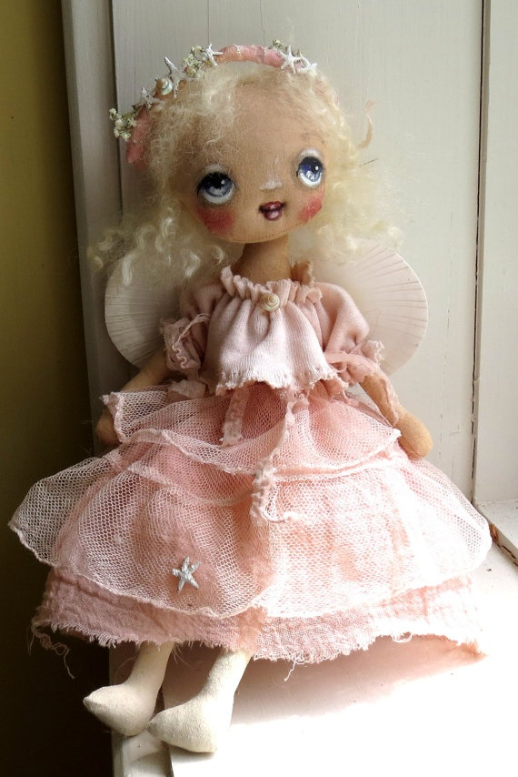 Sweet cloth doll dressed in pale pink by suziehayward on Etsy, $120.00