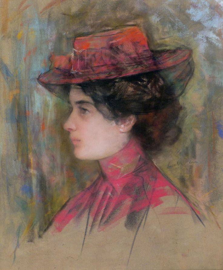 Femeie cu pălărie roşie şi voaletă
