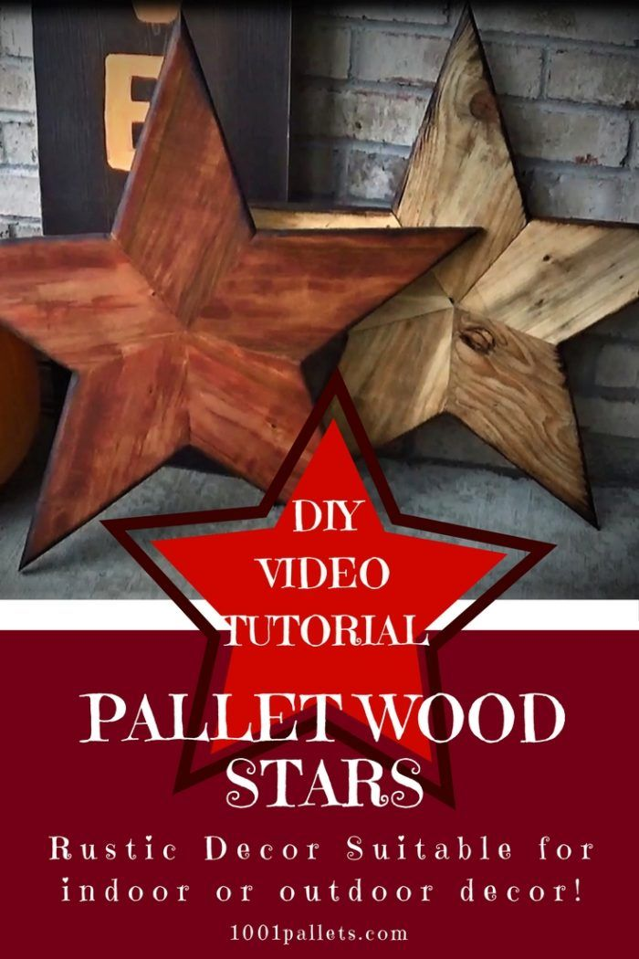 Indoor or outdoor stars made of recycled pallet wood slats.  #HolidayDecor, #HomeDécor, #PalletWallArt, #PartyDecor