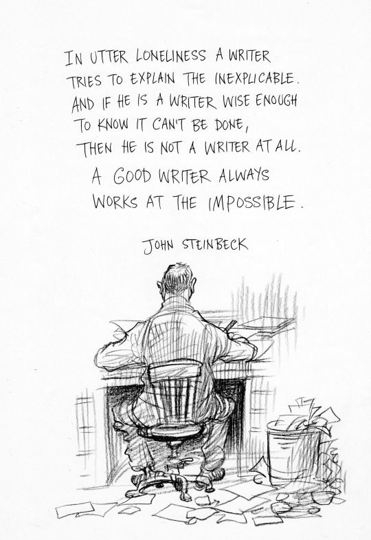 """A good writer always works at the impossible."" - John Steinbeck [1280x1861]"