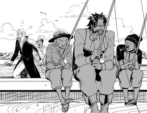 One Piece  Roger,shanks and bugy