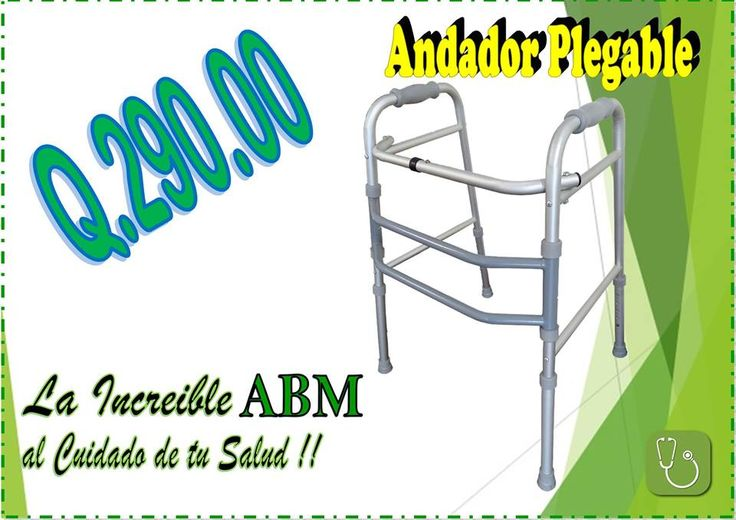 Andador plegable de aluminio, altura ajustable.